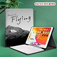 2019新しい iPad10.2インチ キーボード ケース iPad 10.2 ケース 分離式 キーボードケース付き スタンド機能付き 手帳型 軽量 iPad Pro 10.2対応 オートスリープ/ウェイク ペンシルホルダー付き ペンシル収納可能 iPad第7世代2019専用 (E 番+白キーボード)
