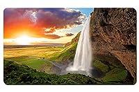 アイスランド、セリャラントスフォス、滝、川、フィールド、日没 パターンカスタムの マウスパッド 旅行 風景 景色 デスクマット 大 (60cmx35cm)