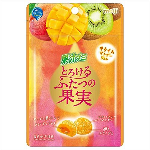 明治 果汁グミとろけるふたつの果実キウイ&マンゴージュレ 52g ×10袋