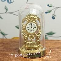 Bobominiworld ヴィンテージガラスとメタルカバークロック ドールハウス ミニチュアデコレーション 1:12スケール 高さ4.5cm ゴールド
