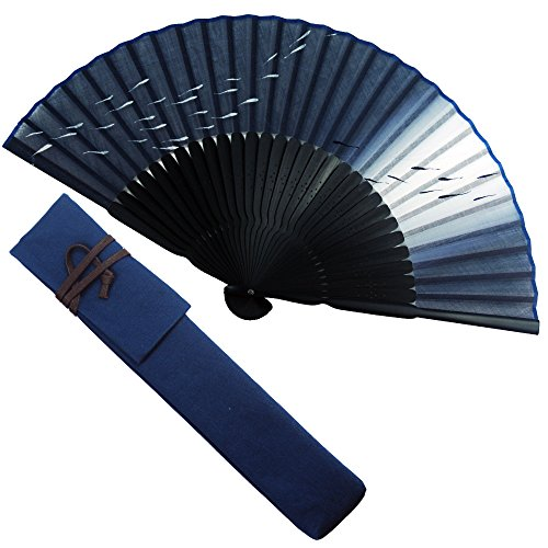扇子 男性 扇子袋・ハンカチセット 遊水(紺) 桐箱入り おしゃれ コットン 男性用 メンズ 扇子
