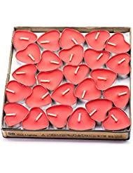 (Red(strawberry)) - Creationtop Scented Candles Tea Lights Mini Hearts Home Decor Aroma Candles Set of 50 pcs...