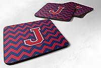 セットの4文字J Chevron Yale Blue and Crimson Foamコースターのセット4