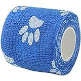 ノーブランド 品 2個 不織布 猫 犬 ペット 動物用 粘着 包帯 ガーゼ テープ ブルー