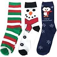 Women's Holiday Crew Socks 3 Pairs - Stripes, Snowman, Penguin Size 9-11