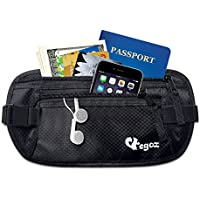 (Black) - Cashew By Egoz Travel Gear Money Belt Undercover Waist Bag Pouch Bag Secures Cash Cards Passport Tickets Mobile - 100% Polyester, 2 Zip Pockets, Adjustable Strap, Side Clip, Washable - Light Slim Comfortable - Delux