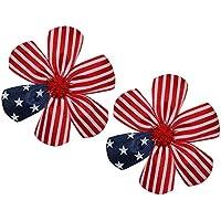wd2uベビー女の子2アメリカ国旗レッドホワイトブルーフラワーヘアリボンワニクリップ