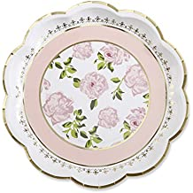 Kate Aspen Tea Time Whimsy Paper Plates, Wedding/Party Disposable Dinnerware, Pink
