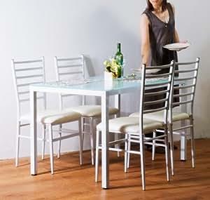 強化ガラスダイニングテーブル5点セット ホワイト(白) 4人用 120x75cm