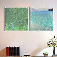 """INVIN ART Combo Painting 2 Pieces Framed Canvas Giclee Print Art Series#26 by Gustav Klimt Wall Art Living Room Home Office Decorations(PS White Slim Frame,32""""x32"""")"""
