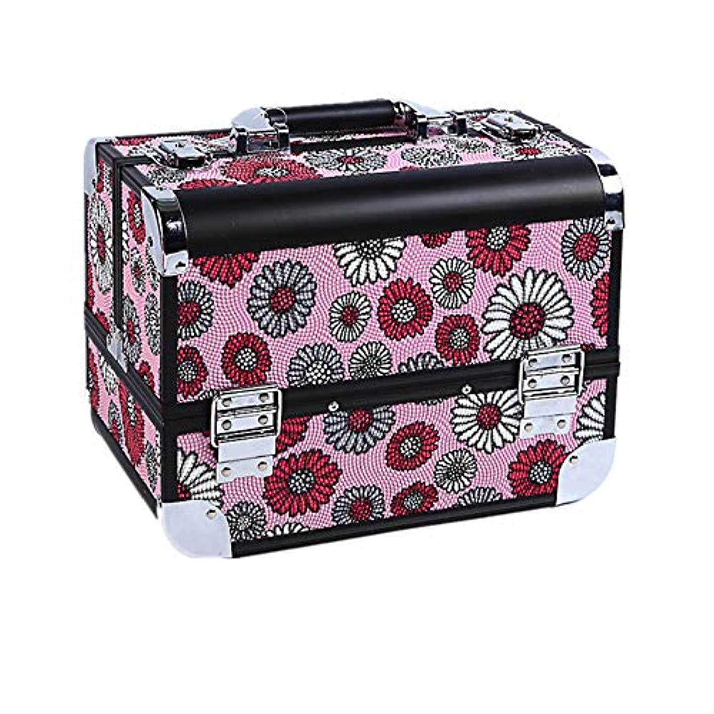 化粧オーガナイザーバッグ 大容量ポータブルアルミ合金旅行化粧品美容メイクアップ化粧ケースひまわりのパターンと折り畳みトレイ 化粧品ケース