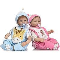 Reborn BabyシリコンTwinsリアルな新生児ソフトビニール人形16インチで子供磁気おもちゃおしゃぶり