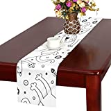 GGSXD テーブルランナー すばしこい白い猫 クロス 食卓カバー 麻綿製 欧米 おしゃれ 16 Inch X 72 Inch (40cm X 182cm) キッチン ダイニング ホーム デコレーション モダン リビング 洗える