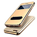 【E-HOME】 iPhone6 Plus iPhone6s Plus 手帳型ケース 窓付き スタンド付き ガラスフィルム付き 金属感 TPUカバー アイフォン6s プラス/ アイフォン6 プラス 手帳型 耐衝撃 カバー (iPhone6 Plus/6s Plus,ゴールド)