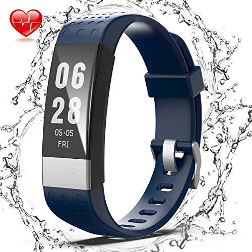 スマートブレスレット Wesoo 多機能スマートウォッチ 活動量計 万歩計 心拍血圧測定 メール/電...