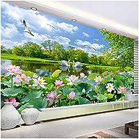 Xbwy 中国風の写真の壁紙3D白鳥湖蓮池壁画リビングルームテレビソファ背景壁画-400X280Cm