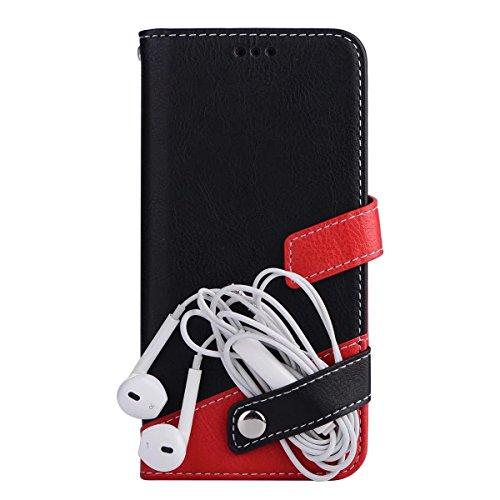 iPhone 8 iPhone 7 レザー 手帳型 ケース マルチ カラー Diary case カード収納 液晶保護フィルム 付 スタンド機能付き イヤホンコードクリップ iphone7 本革風カバー マグネット式 アイフォン 8 / アイフォン7ケース 4.7インチ対応 (iPhone 7, ブラック)