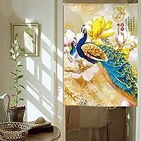 BMY シルクロードプリントドアブラインド寝室のカーテン中国のシンプルな装飾的なカーテン用浴室寝室リビングルームキッチン仕切りカーテン送信カーテンロッドA 75 x 90 cm(30 x 35インチ)