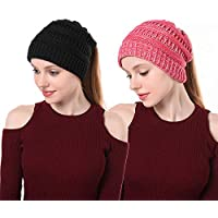Ponytail Beanie Hats for Women, EINSKEY Soft Stretch Cable Knit Messy Bun Hat with Hole for Ponytail