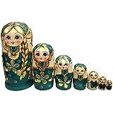 QTFHR Wood Stacking Nested Set 7 pcs Cute Green/ Blue Sweater Girl Russian Nesting Dolls Matryoshka Toys Decoration Wishing Gift