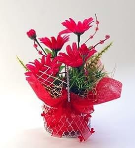 風水フラワー デイジー 赤 仕事運 東向き 風水カラーで運気アップ 光触媒 造花