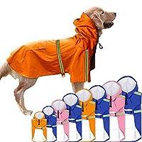 犬 レインコート 帽子付き 防水 ペット服 かわいい 梅雨対策 雨具 雨の日 反射テープ付き 犬用ポンチョ マッジクテープ 通気性 ペット用品 防水服 小犬・中犬・大犬に適用 二足服 着せやすい ドッグウェア ポケット 大人気つなぎレインコート 雨の日のお散歩に (S, オレンジ)