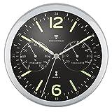 ottostyle.jp 電波掛け時計 掛時計 【夜光/蓄光】 温度計/湿度計付き 見やすいシンプルな文字盤 連続秒針 サイレントムーブ 電波時計