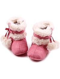 ゴシレ Gosear 新生児 赤ちゃん 冬 温かみ ソフト 綿 靴 ブーツ ベビーブーツ クリスマス ベビー シューズ ため 6-12ヶ月 赤ちゃん 薄赤色 M