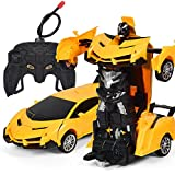 Lemonda 2 in 1 Transformation Remote Control Car Rebot One Key Deformation Robot Kids Toy Yellow