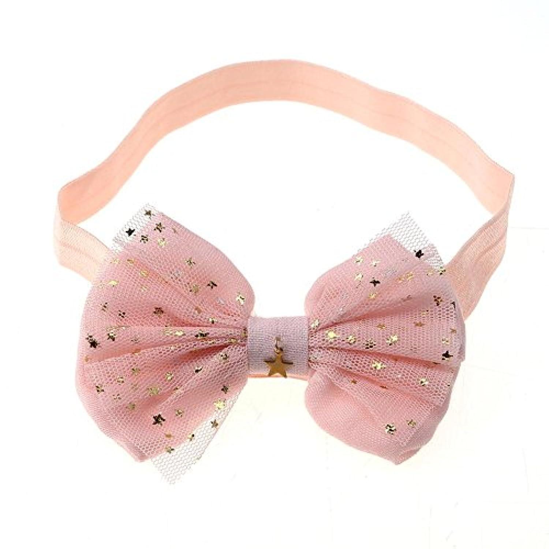 Domybestベビーヘアバンド  リボン 2色選べる 星プリント キッズ 子供 カチューシャ 髪飾り 新生児 赤ちゃん 出産祝い 誕生日 記念日 撮影 (ピンク)