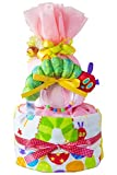 あかちゃんのお名前入り 2段 はらぺこあおむし 出産祝い パンパース18枚 男の子 女の子(S, ピンク 201)