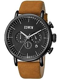 EDWIN EW1G013L0084 Men's Element Brown Leather Band Black Dial Watch