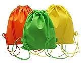 mzd83913カラー巾着バッグ不織布生地防水折りたたみバックパックのホーム旅行スポーツストレージ誕生日パーティー( 3パック)