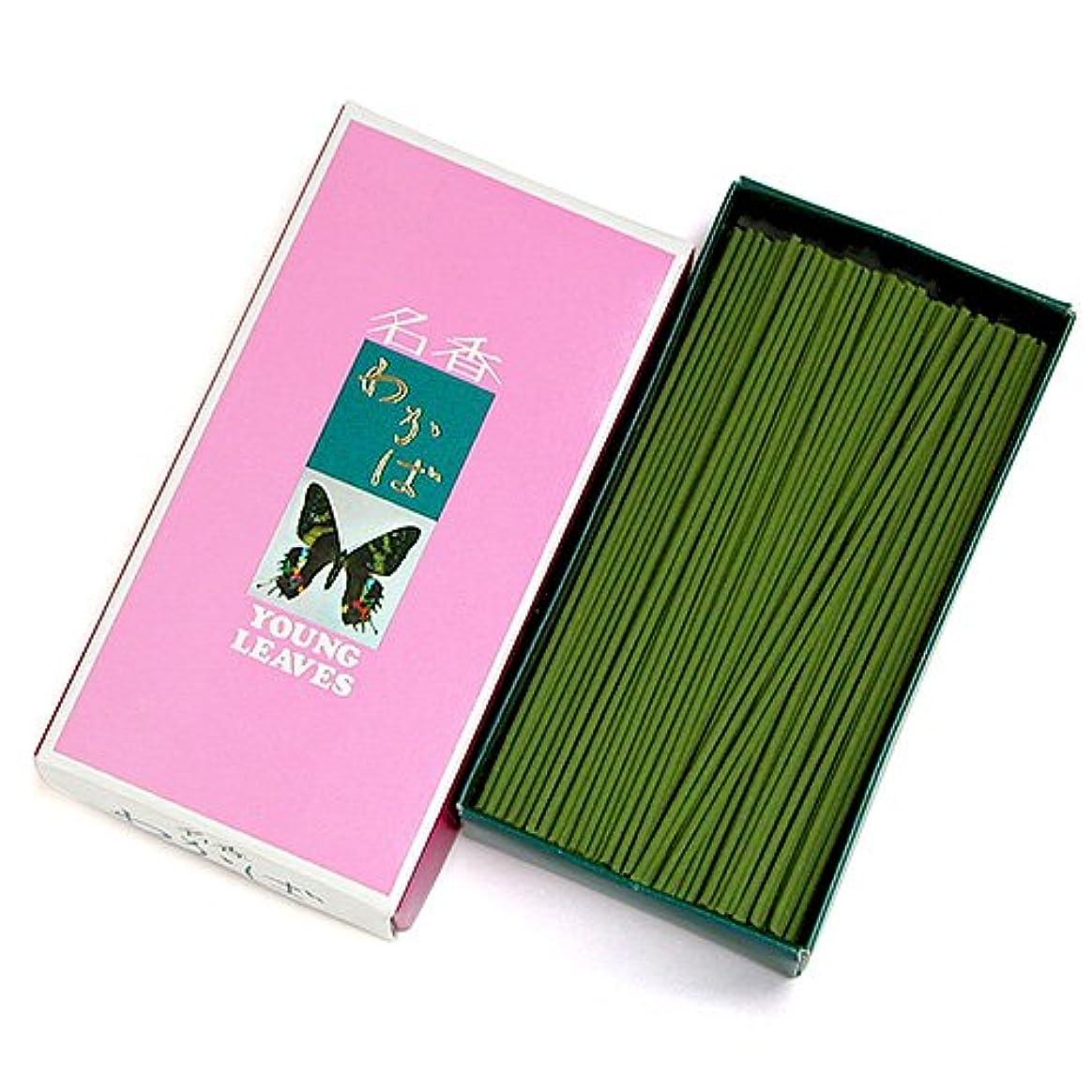 呼びかける故意に非公式家庭用線香 わかば(箱寸法16×8.5×3.5cm)◆香木と調和した香水の香りのお線香(大発)
