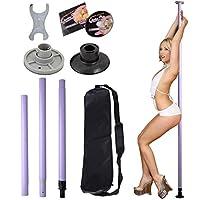 custpromo Portable Stripper Exercise Fitness ClubダンスPoleフルキット パープル