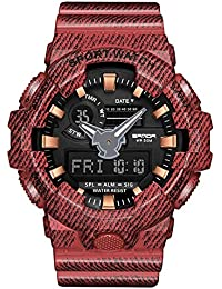 5370c7d27c 腕時計 デジアナ表示 メンズ ブランド 両地時間帯表示 ミリタリー軍事 ストップウォッチ アラーム 夜光