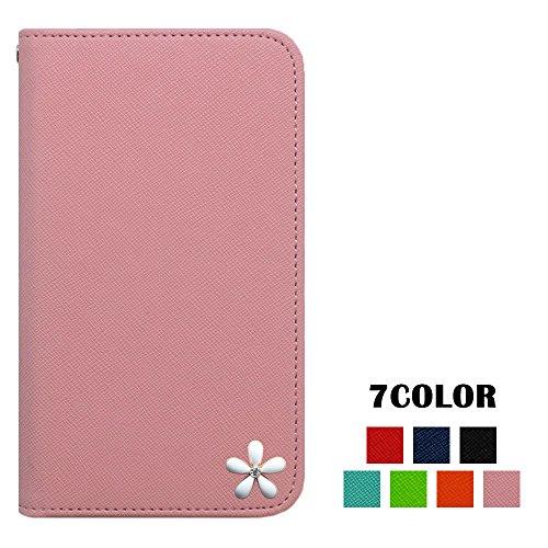 ロゼ(Rosee) apple iPhone7 ケース iPhone7 カバー アイフォン7 ケース iPhone7 手帳型ケース iphone 7 スマホケース iphone 7 手帳型カバー SIMフリー スマホケース 全機種対応 白 花 はな 飾り キュート キラキラ 国内生産 Pink