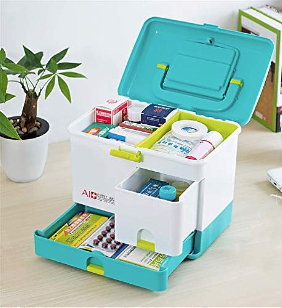 回転させる生じるホイッスル薬箱 大容量 救急箱 ハンドルとロック付き ピルボックス家庭用,多層,28×20×24cm