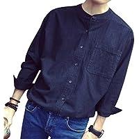 【 Smaids×Smile 】 メンズ 長袖 コットン カジュアル カラー 白 シャツ ゆったり 襟なし 無地