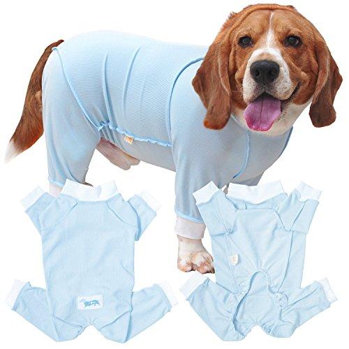 犬猫の服 full of vigor 獣医師と共同開発 犬用 皮膚保護服エリザベスウエア 中型犬用 男の子 雄用 カラー 7 サックス サイズ N3L フルオブビガー