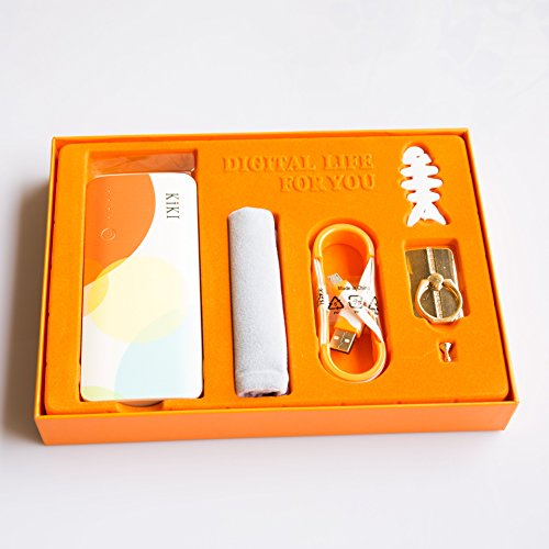 KIKI(キキ)モバイルバッテリー, 大容量充電バッテリー(10000mah), iphone充電, バッテリーケース, USB充電ケーブル付き、スマートフォンスタンド付き