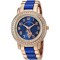 U.S. Polo Assn. Women's Stainless Steel Quartz Watch with Ceramic Strap, Blue, 20 (Model: USC40228