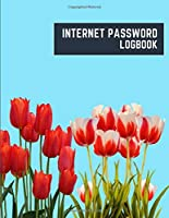 internet password logbook: 8.5x11 cute internet password book | cool internet password logbook paper with page numbers | internet password logbook | internet password notebook journal paper | tulip flower plant nature bluesky color