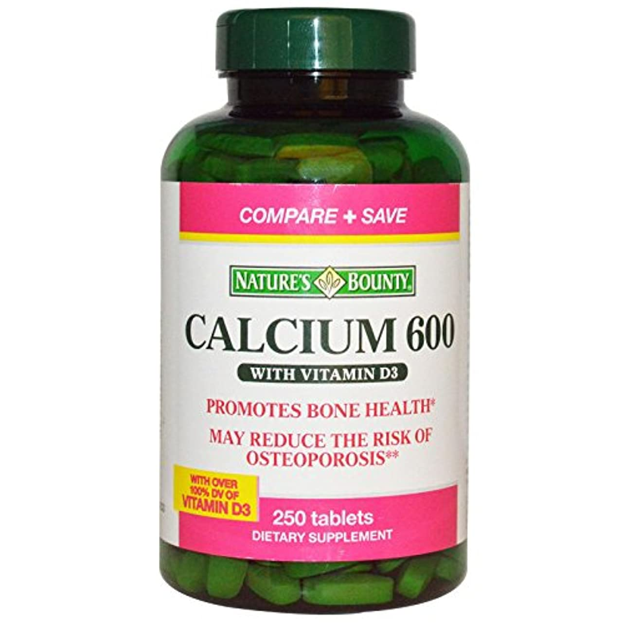透明にシュリンク闘争Nature's Bounty - カルシウム 600 mg のビタミン D3 - 250Tablet(s)