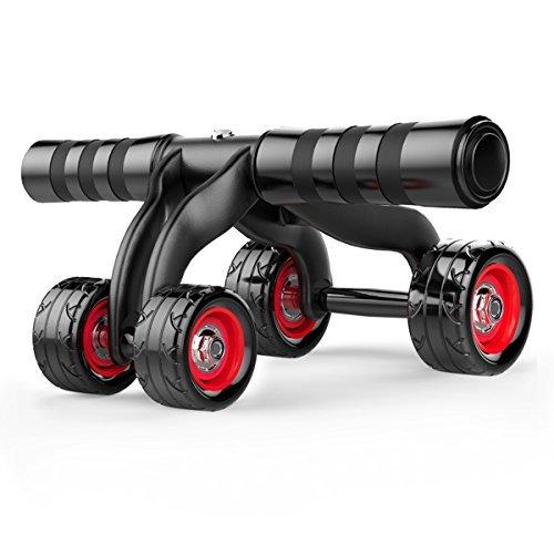 MKTEL 腹筋ローラー4輪で女子安定腹部 マシン ホイール 静音設計マットローラー マット付き耐摩耗性が強いかつ滑りにくい腹筋トレーニング器具背筋