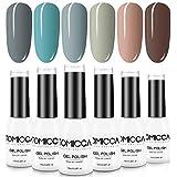 TOMICCA Gel Polish, 6 Colour Nail Polish Set, Nail Art Manicure, Soak Off UV LED