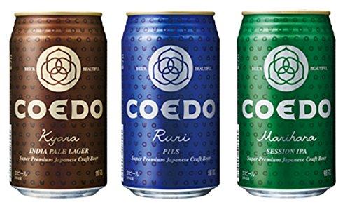COEDO コエドビール 瑠璃 (ruri)、伽羅 (kyara)、毬花(marihana) 350ml缶 12本セット
