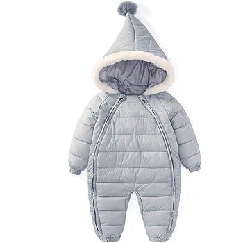 8d591f4699e2f Feidoog ベビー ジャンプスーツ フード付き 防水・防寒・保温 軽い ファスナー 前開き便利 カバオール 冬服 暖かい 柔らかい 幼児 女の子  男の子 無地 グレー 90