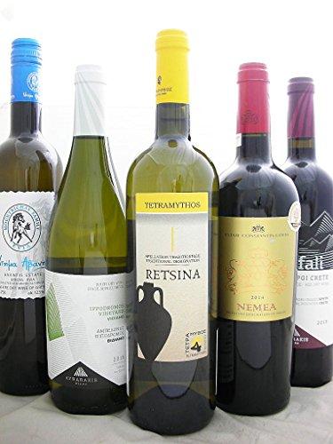 厳選ギリシャワイン5本セット【Greece Wine】【ギリシャ産・赤・辛口×3本 白・辛口×2本】