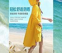 日保護服女性の夏の抗UV長いセクション薄い屋外の乗馬サンプロテクションジャケット,黄,XXL DYY